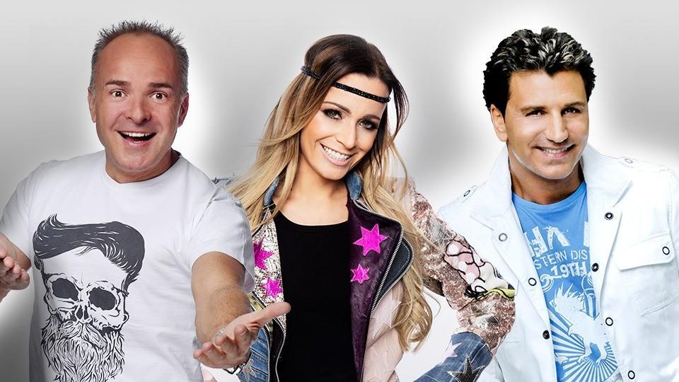 """Tim Bibelhausen alias Tim Toupet, Marion Möhlich alias Marry und Oliver Frank gehören zu den """"Schlager sucht Liebe""""-Singles."""
