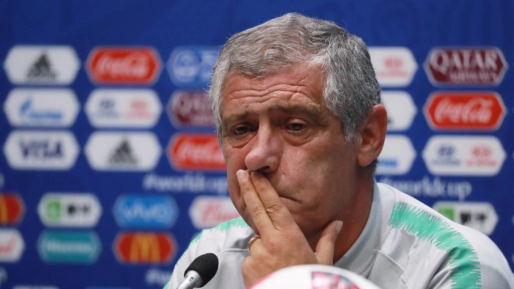 SOCHI, RUSSIA - JUNE 29, 2018: Manager Fernando Santos of the Portuguese men s national football team gives press conference PK Pressekonferenz ahead of the 2018 FIFA World Cup WM Weltmeisterschaft Fussball Round of 16 match against Uruguay, at Fisht