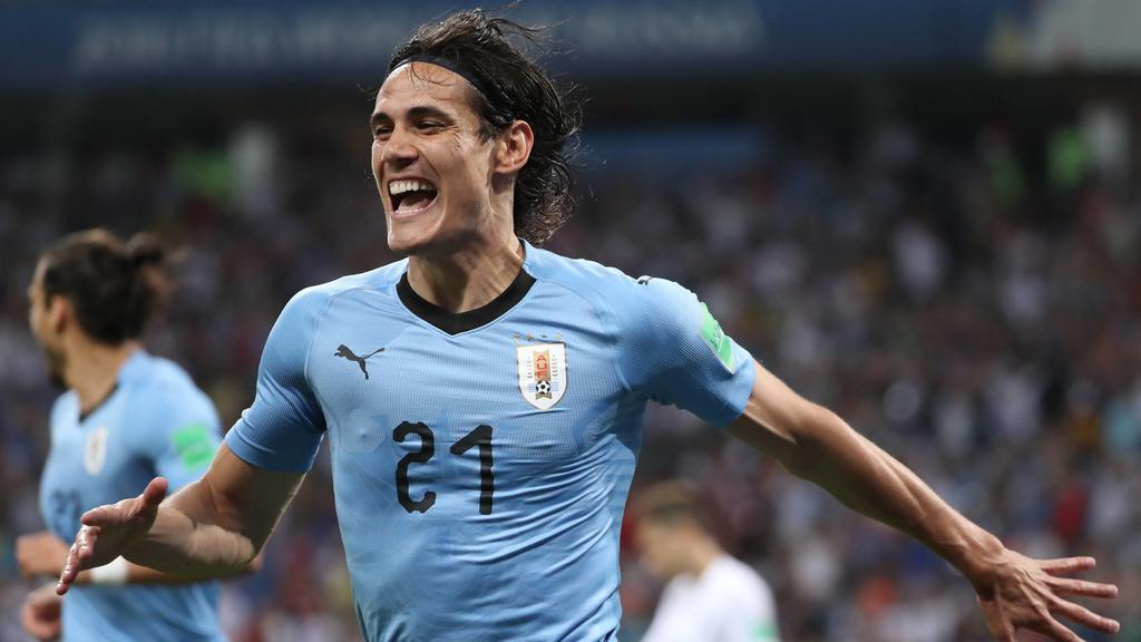 WM 2018, Uruguay - Portugal WM 2018, Uruguay - Portugal (180630) -- SOCHI, June 30, 2018 -- Edinson Cavani of Uruguay celebrates scoring during the 2018 FIFA World Cup WM Weltmeisterschaft Fussball round of 16 match between Uruguay and Portugal in So