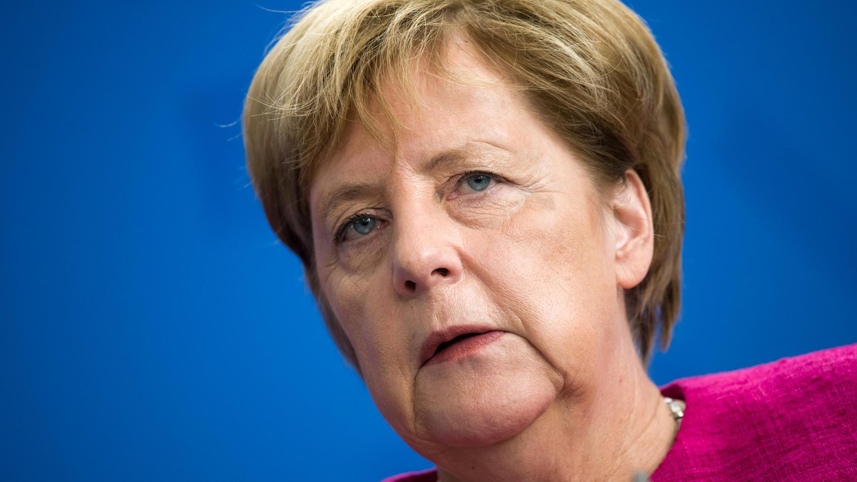 Bundeskanzlerin Angela Merkel bei einer Pressekonferenz.