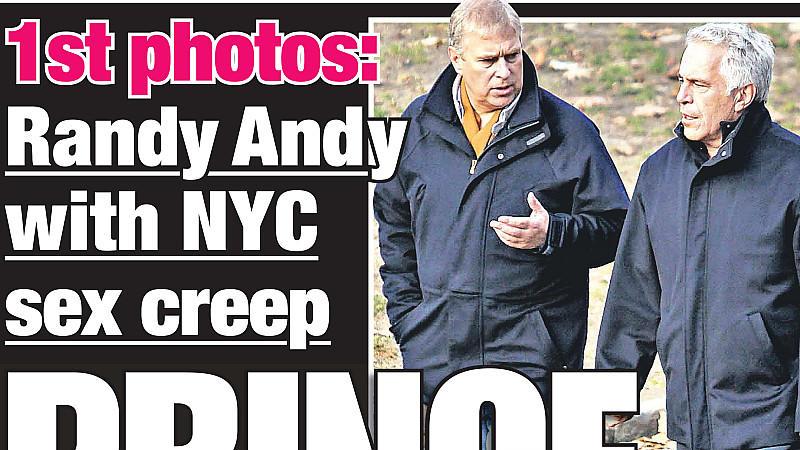 """""""Prince and perv"""": Prince Andrew und der pädophile Milliardär Jeffrey Epstein beim Spaziergang."""
