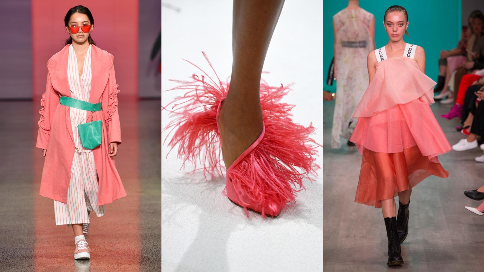 """""""Living Coral"""" eroberte bei der Fashion Week die Laufstege und wird uns 2019 als Trendfarbe begleiten. (Bilder von den Shows von New Generation, Giambattista Valli und Akira)"""