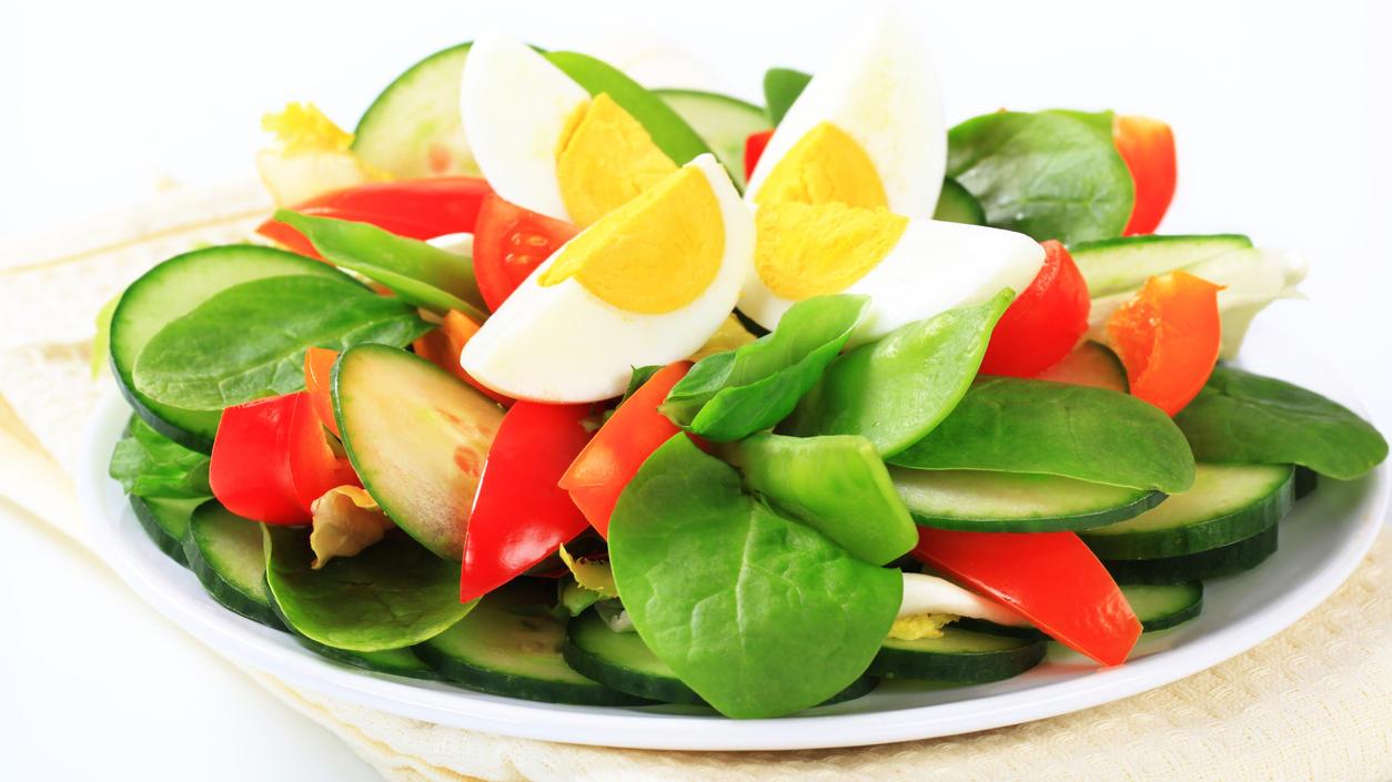 Hauptbestandteil der Thonon-Diät: Gekochte Eier und Salat.