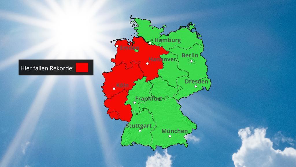 Die Karte zeigt Regionen, wo am Donnerstag Temperaturrekorde fallen