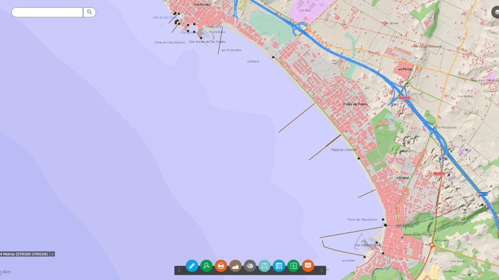 Ein Ausschnitt aus der Mallorca-Karte, auf der die Abwasserrohre aufgezeichnet sind.