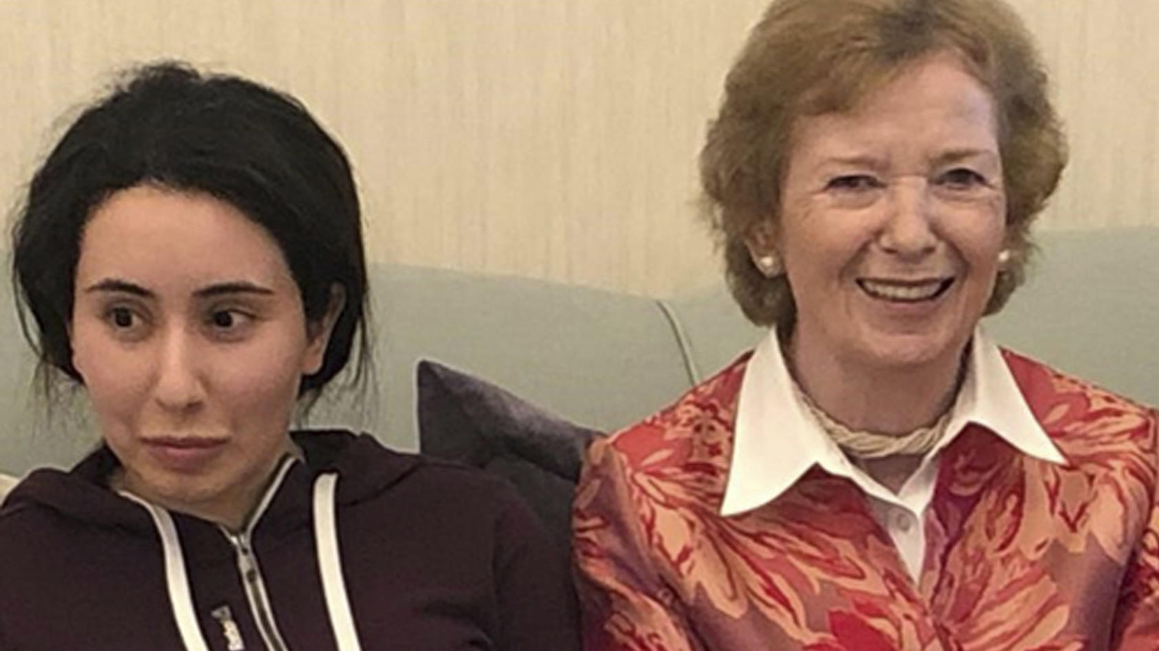 Mary Robinson, frühere Staatspräsidentin Irlands sowie UN-Hochkommissarin für Menschenrechte, besuchte Prinzessin Latifa 2018 in Dubai.