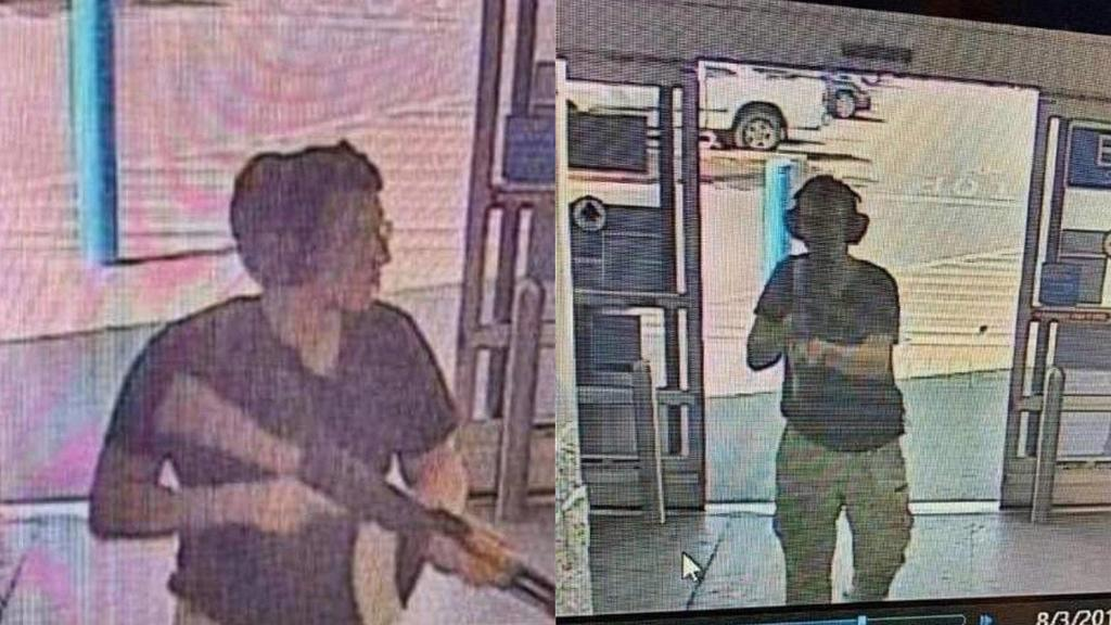 A surveillance stills show alleged gunman Patrick Crusius holding a rifle as he enters a Walmart store at the start of his mass shooting that left at least 20 people dead, in El Paso, Texas on Saturday, August 3, 2019. PUBLICATIONxINxGERxSUIxAUTxHUNx