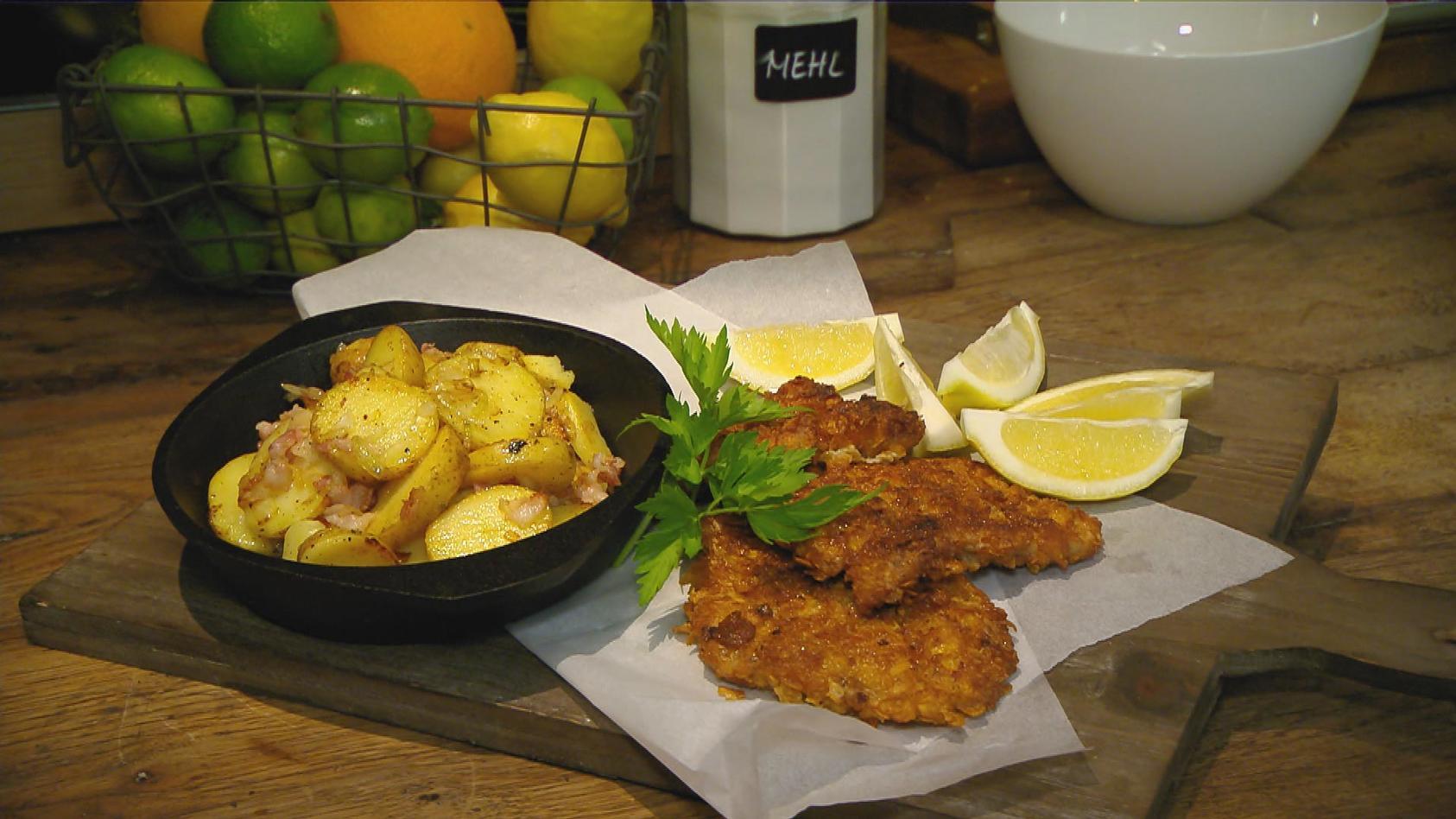 Dauerbrenner – Imbiss-Lieblinge zum Nachkochen: Schnitzel mit Knusperhülle mit Bratkartoffeln