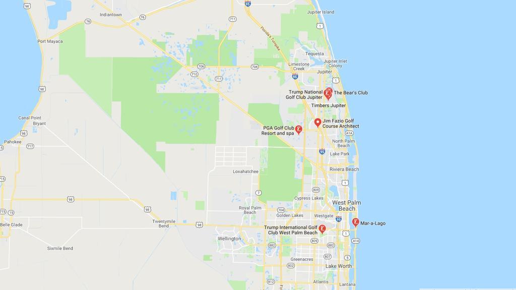 Zwei von drei Trump-Golfresorts in Florida liegen in der Nähe von Palm Beach