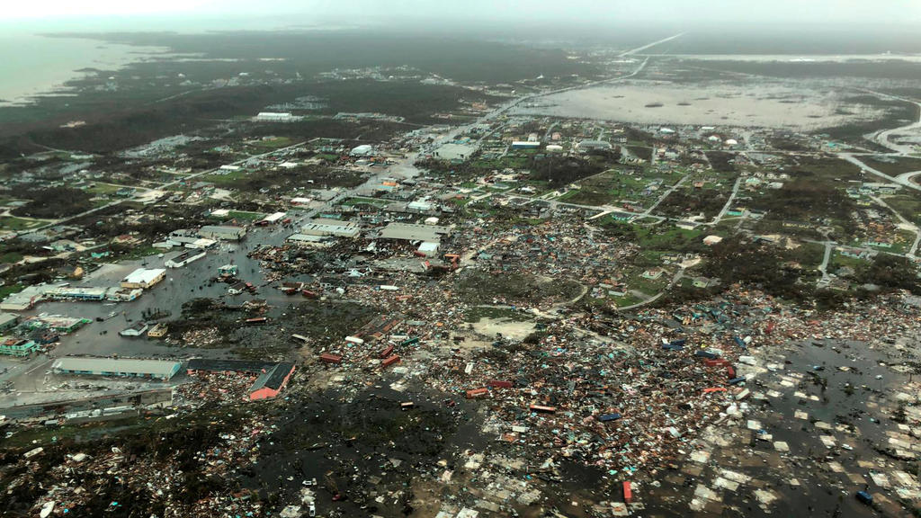 An aerial view shows devastation after hurricane Dorian hit the Abaco Islands in the Bahamas, September 3, 2019, in this image obtained via social media. Michelle Cove/Trans Island Airways/via REUTERS ATTENTION EDITORS - THIS IMAGE HAS BEEN SUPPLIED