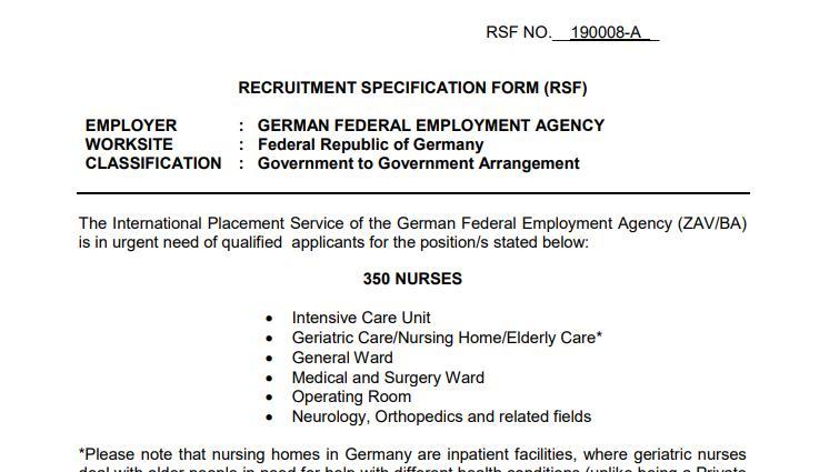 Mit Anzeigen wie dieser sucht die Agentur für Arbeit Fachkräfte im Ausland.