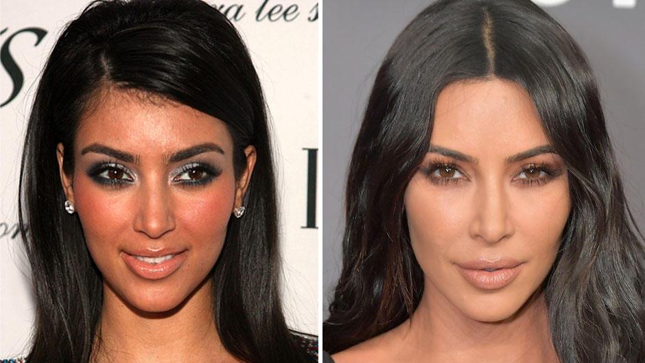 Kim Kardashian: Wow, hat die sich verändert. Hier ein Foto von 2006 (li.) und ein Foto von 2019.