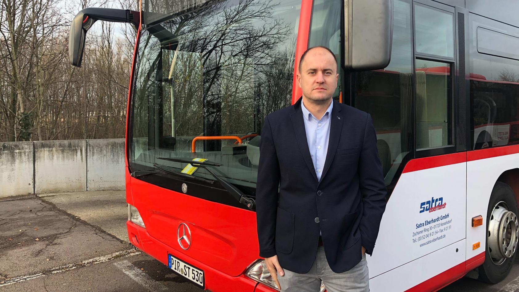 Matthias Peschke ist Chef des Busfahrers, der den Zettel im Dresdner Bus angebracht hat.