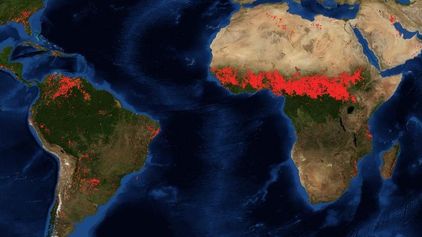 nasa feuer fire map