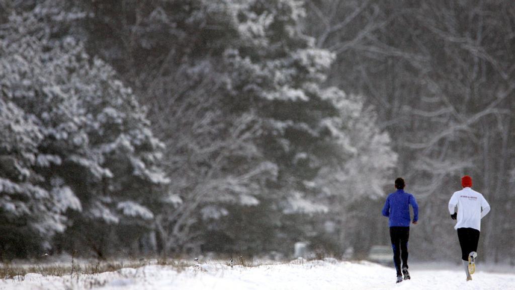 Bei Schneetreiben laufen zwei Jogger am Mittwoch (28.12.2005) auf einem Feldweg bei Heusenstamm (Kreis Offenbach) in den verschneiten Wald. Der Winter zeigt sich von seiner typischen Seite mit Schneefall und Temperaturen um null Grad. Foto: Frank May