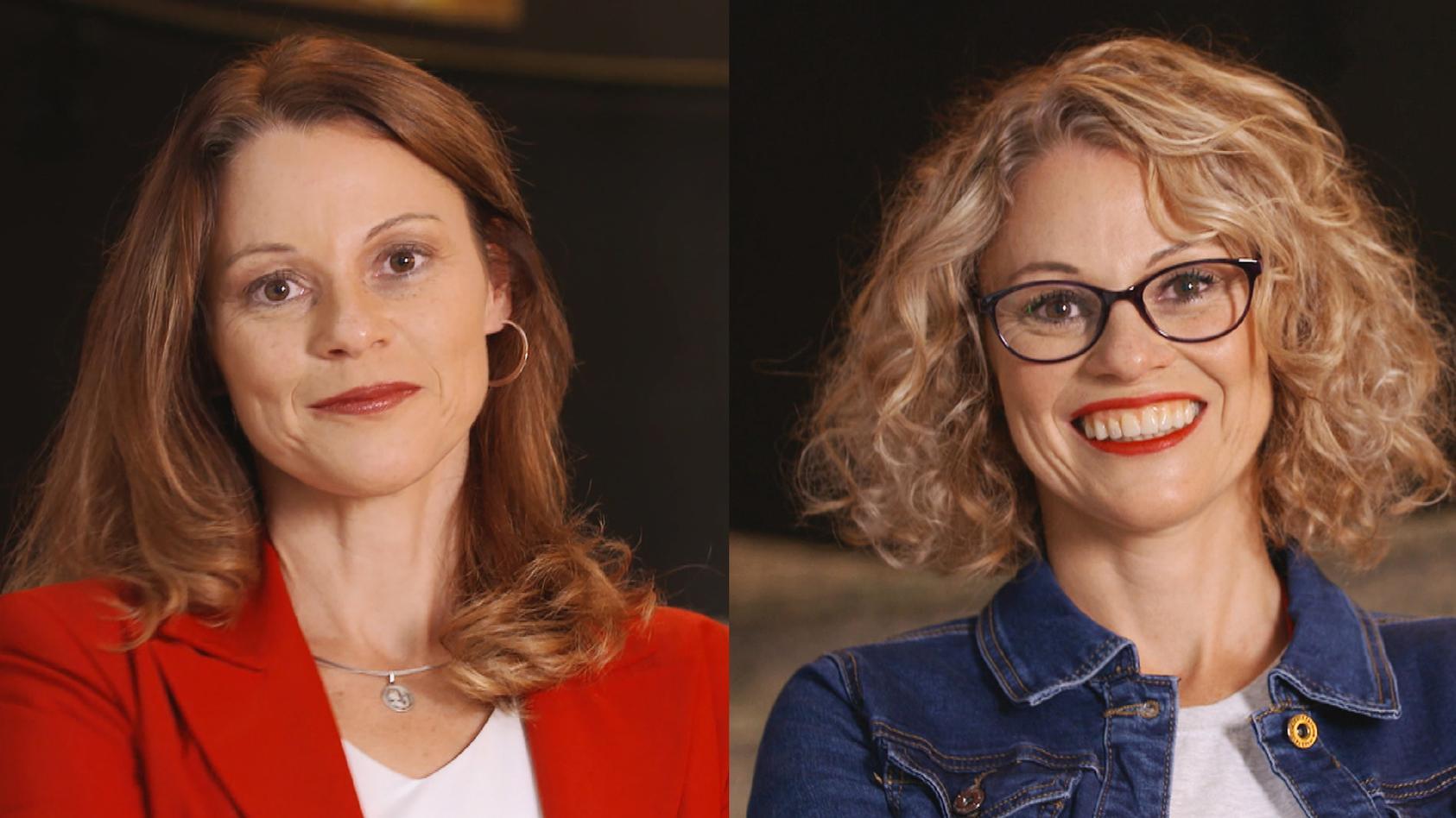 Stefanie Brandes (l.), Geschäftsführerin der Aldiana GmbH, vor und nach ihrem Umstyling zu TV-Show-Kandidatin Jana (r.).