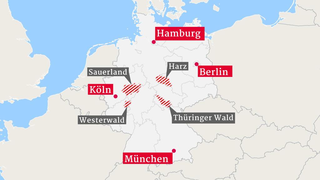Die größten Schäden im deutschen Wald gab es im Sauerland (Nordrhein-Westfalen), dem Harz (Niedersachsen), dem Thüringer Wald (Thüringen) und im Westerwald (Hessen und Rheinland-Pfalz)