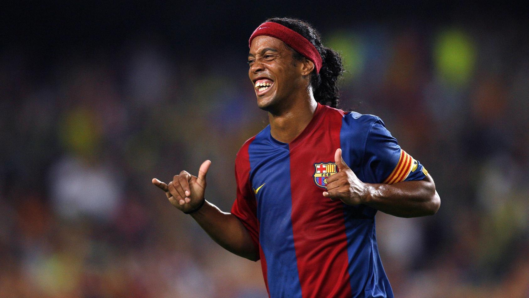 Ronaldinho (FC Barcelona) - Torjubel - PUBLICATIONxNOTxINxFRAxITA (pan15748)