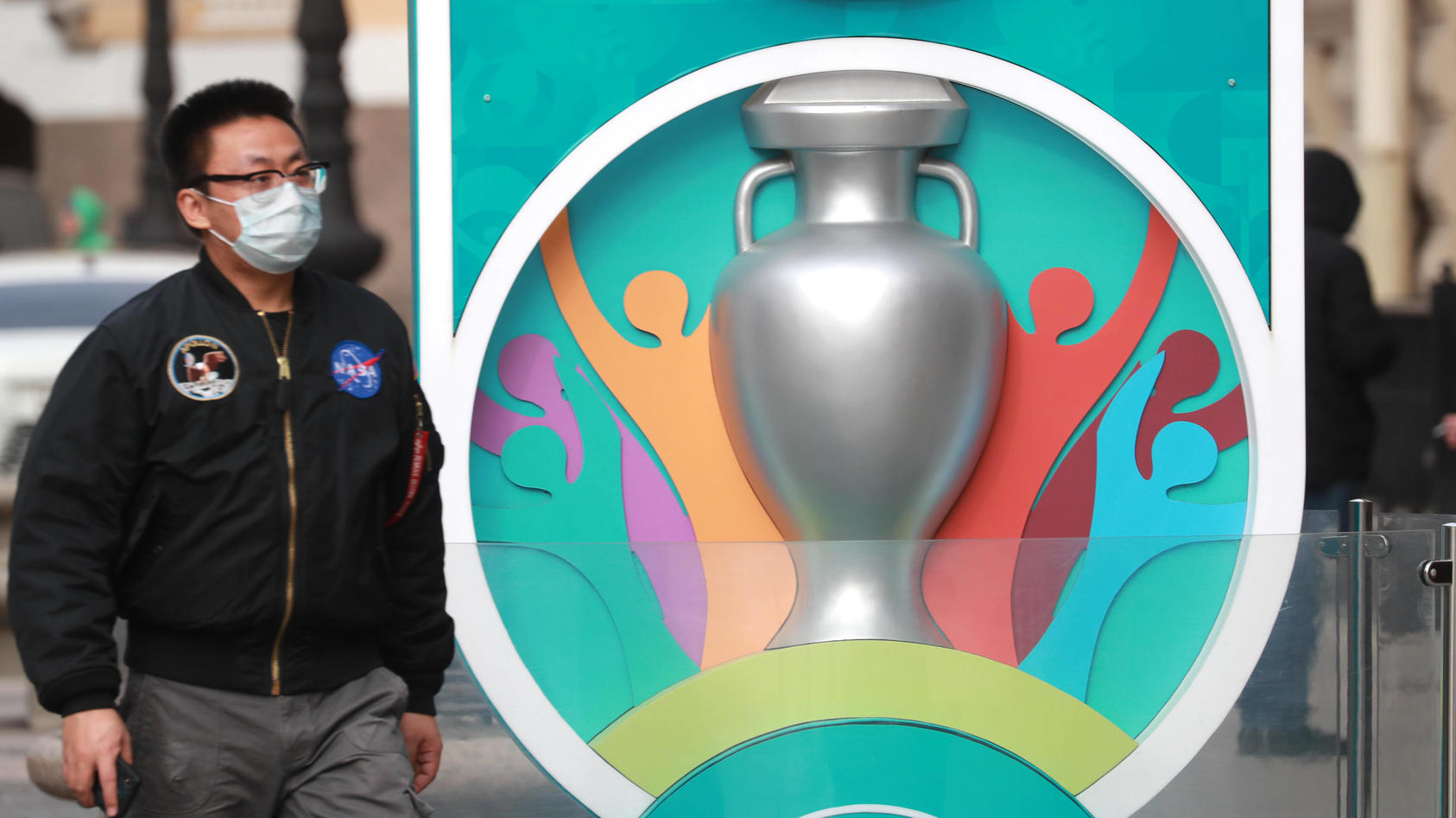ST PETERSBURG, RUSSIA - MARCH 17, 2020: The clock counting down the time till the 2020 UEFA European Football Champions