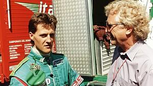 Debüt: Am 24./25.08.1991 bestritt Michael Schumacher sein erstes Formel 1-Wochenende, damals in einem Jordan-Ford. Nach dem Qualifying gab er RTL-Kommentator Willy Knupp ein Interview.