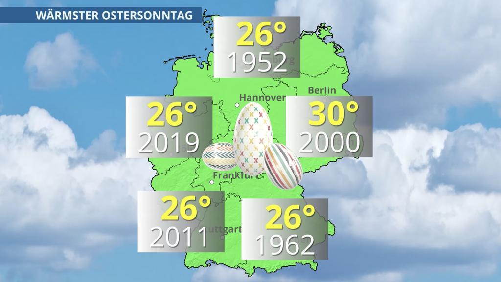 Die Temperaturrekorde in Grad Celsius zum Ostermontag