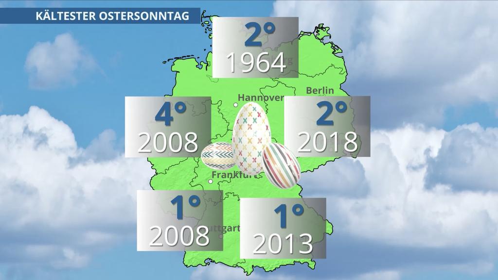 Die niedrigsten Temperaturen in Grad Celsius zum Ostersonntag
