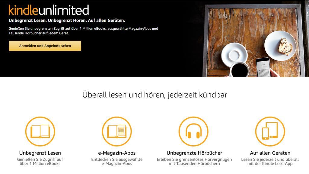 Kindle Unlimited ist Amazons Leseflatrate für eBooks, Magazine und Hörbücher.