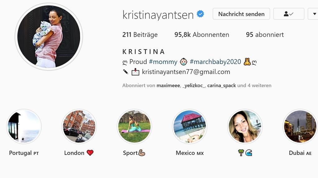 Kristina Yantsens Instagramprofilfoto zeigt sie mit ihrem Baby im Arm.