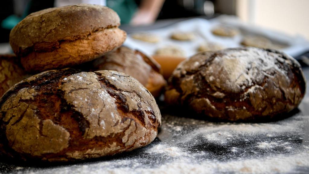"""ARCHIV - 21.04.2020, Berlin: Frisch gebackenes Brot liegt auf einem Küchentisch. (zu""""Brot ist in der Corona-Krise gefragt - Zeit der Hamsterkäufe vorbei"""") Foto: Britta Pedersen/dpa-Zentralbild/dpa +++ dpa-Bildfunk +++"""