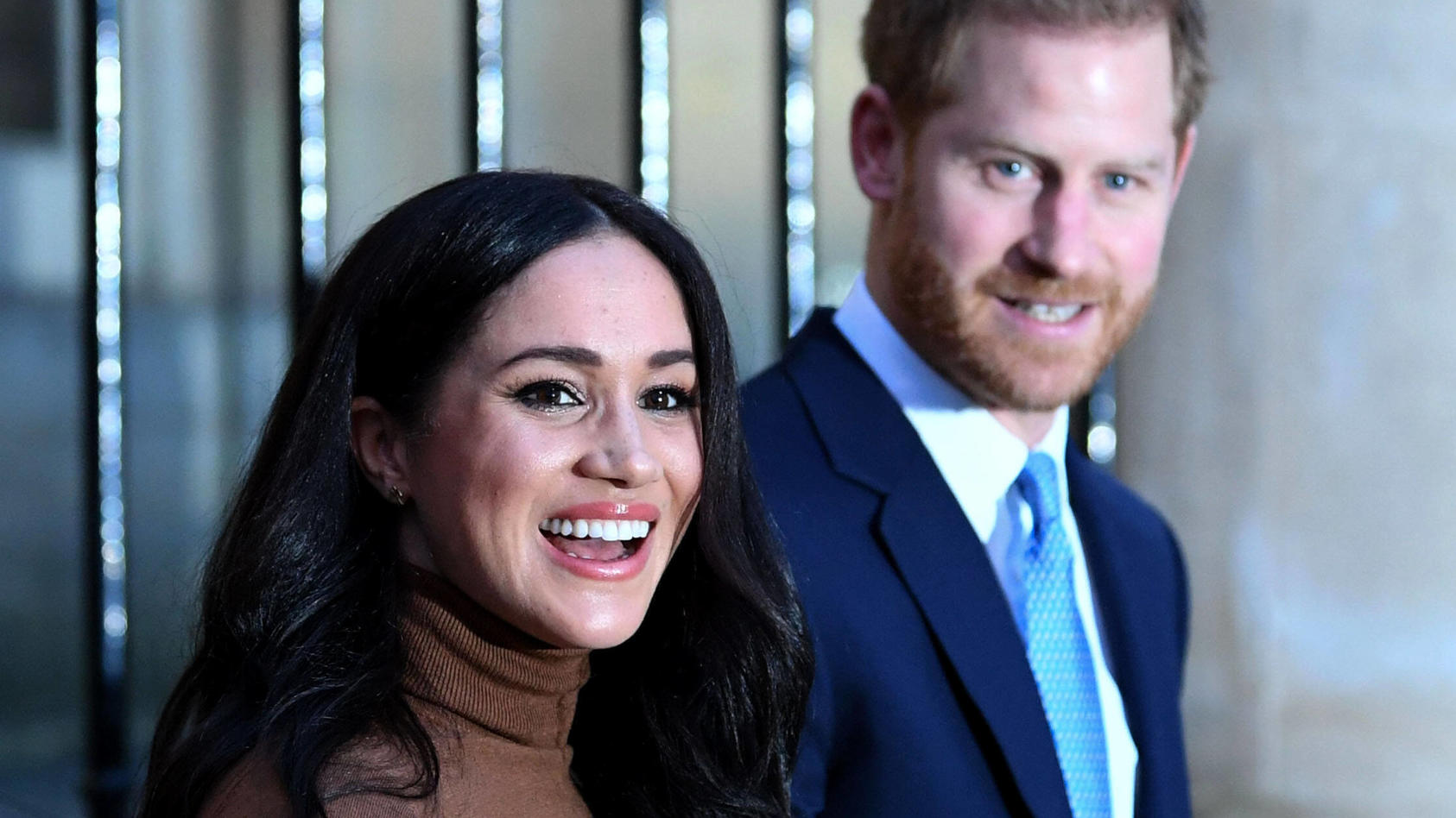 . 07/01/2020. London, United Kingdom. Prince Harry and Meghan Markle, the Duke and Duchess of Sussex, at Canada House i