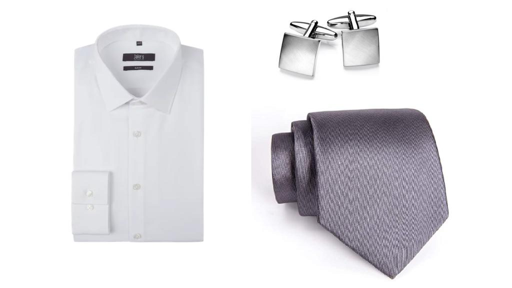 Hemd, Manschettenknöpfe, Krawatte.