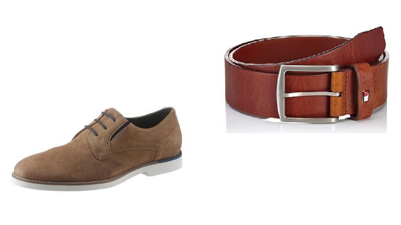 Gürtel von Tommy Hilfiger, Schuhe von Bruno Banani.