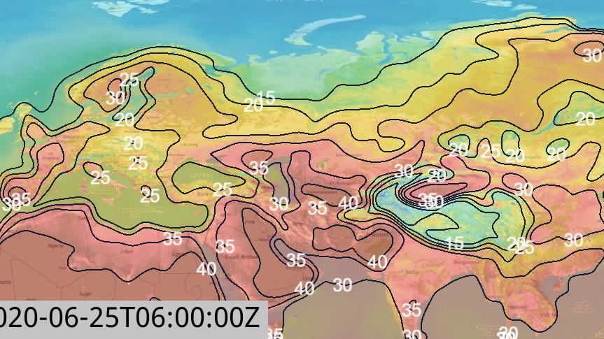 Die Temperaturverteilung für Freitag, 25.06. über Europa, Asien und Nordafrika (Skandinavien und Sibirien mit 30 Grad und mehr)