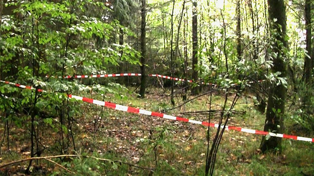 Bayern, Regensburg: Mit Flatterband hat die Polizei den Fundort einer Frauenleiche absgesperrt. Ein Pilzsucher hatte dort die sterblichen Überreste der vermissten Maria Bauer gefunden. Die Staatsanwaltschaft hat am 03.03.2020 Ank