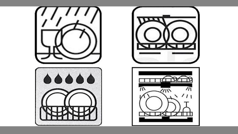 Spülmaschinen-Symbole können unterschiedlich aussehen.