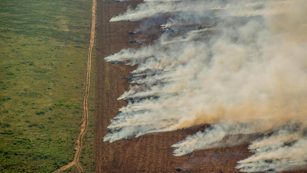 HANDOUT - 09.07.2020, Brasilien, Nova Maringa: Auf diesem Greenpeace Brasilien zur Verfügung gestellten Bild ist eine brennende Waldfläche in Nova Maringa zu sehen. Jedes Jahr überfliegt Greenpeace Brasilien das Amazonasgebiet, um die sich aufbauende