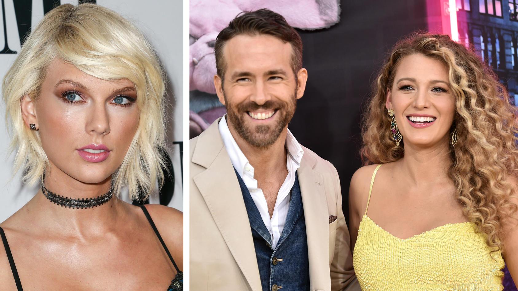 Machte ihren Freunden eine Freude: Taylor Swift (l.) verriet mit ihrem Song den Namen von Ryan Reynolds (m.) und Blake Livelys (r). drittem Kind