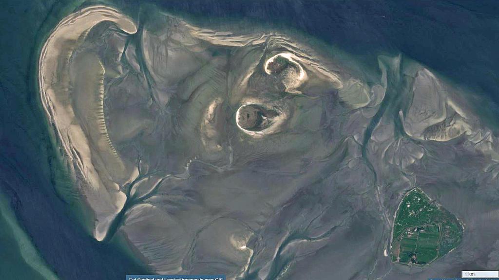 Satellitenbild von der neuen Sandbank