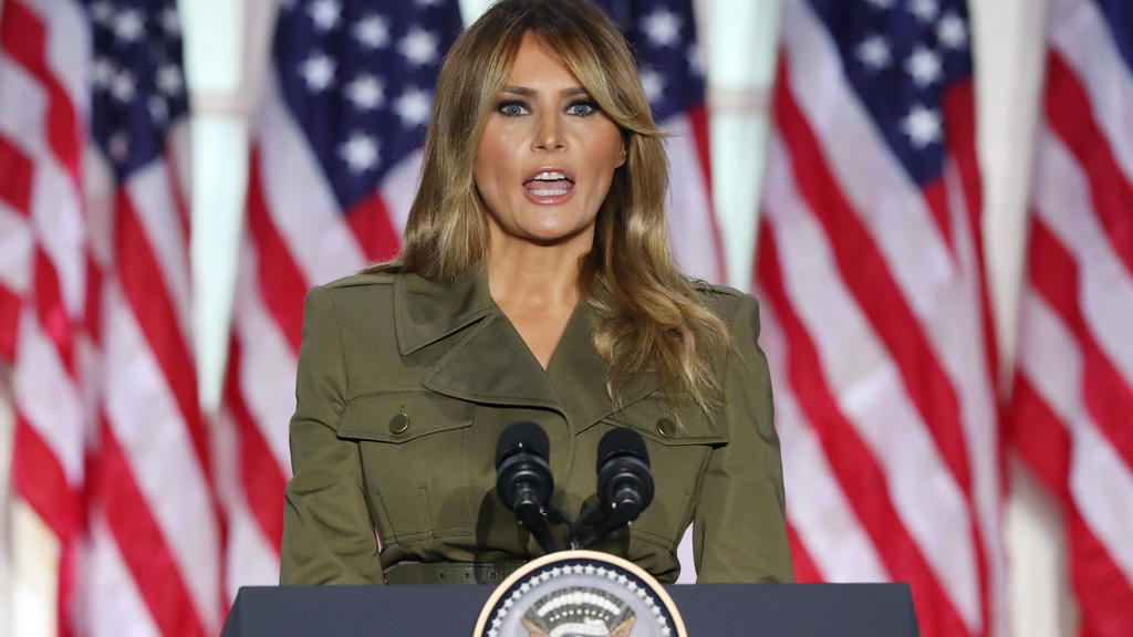 USA, Parteitag der Republikaner U.S. First Lady Melania Trump delivers her speech during the second night of the Republican National Convention, in the Rose Garden at the White House in Washington, DC, on Tuesday, August 2020. Due to the coronavirus