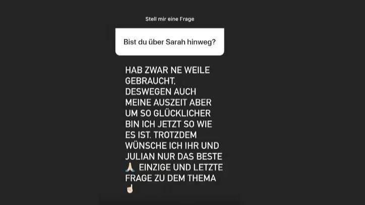 Roberto Ostuni spricht bei Instagram zu Sarahs neuer Beziehung