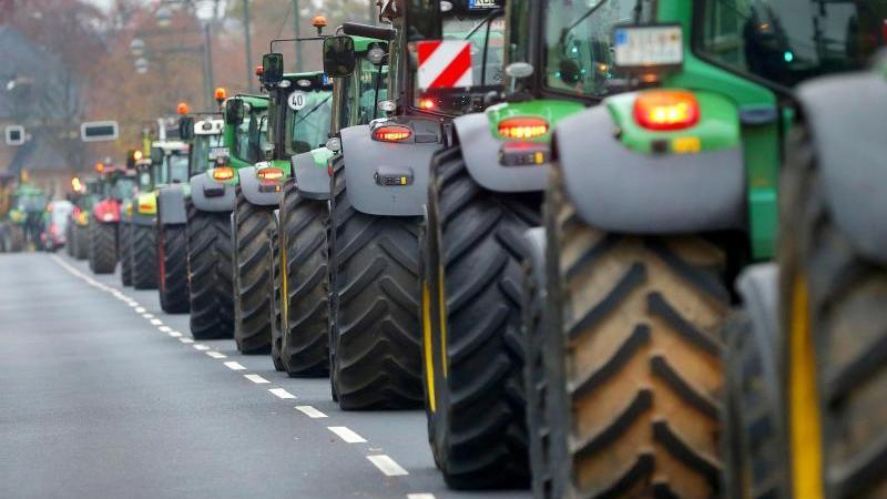 Traktoren fahren über eine Straße. Foto: David Young/dpa/Archiv/Symbolbild