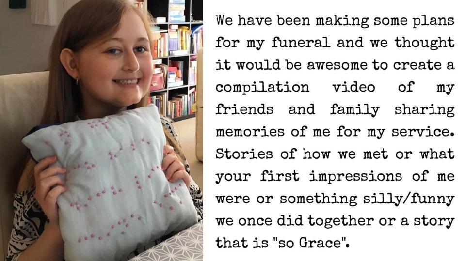 Grace Mertens plant nun ihre eigene Trauerfeier.