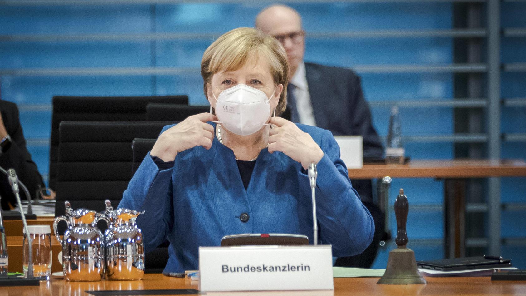 Bundeskanzlerin Angela Merkel, CDU, aufgenommen zu Beginn einer Kabinettssitzung im Bundeskanzleramt. Berlin, 28.10.202