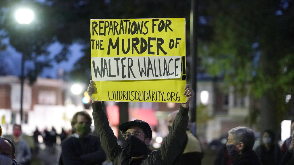 Protesters gather for a march Tuesday Oct. 27, 2020, in Philadelphia. Hundreds of demonstrators marched in West Philadelphia over the death of Walter Wallace, a Black man who was killed by police in Philadelphia on Monday. Police shot and killed the