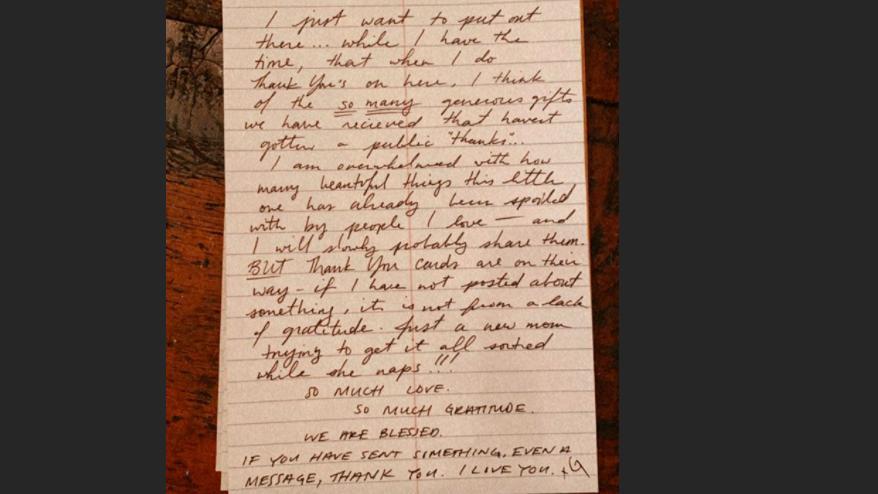 Mit diesem handgeschriebenen Brief bedankt sich Gigi Hadid bei Fans und Freunden.