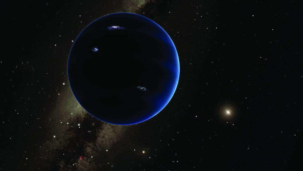 Diese künstlerische Darstellung zeigt den fernen Blick vom Planeten Neun zurück zur Sonne. Es wird angenommen, dass der Planet gasförmig ist, ähnlich wie Uranus und Neptun.