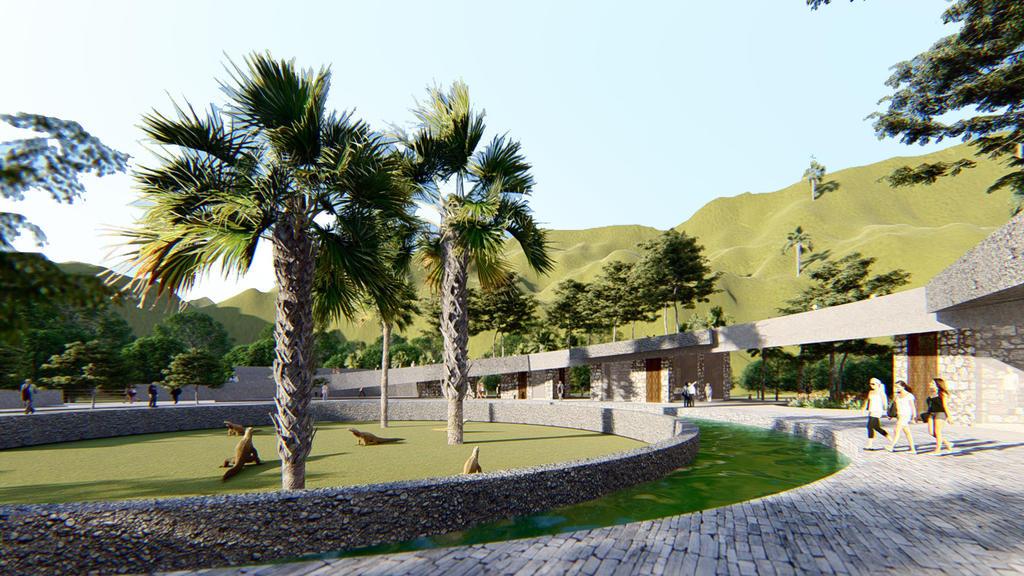 HANDOUT - 16.10.2020, Indonesien, Komodo: Undatiert: Eine Computeranimation zeigt den geplanten Park für Komodowarane auf der Insel Rinca. In die Touristenattraktion im Komodo-Nationalpark sollen einige der letzten Riesenechsen integriert werden. (zu