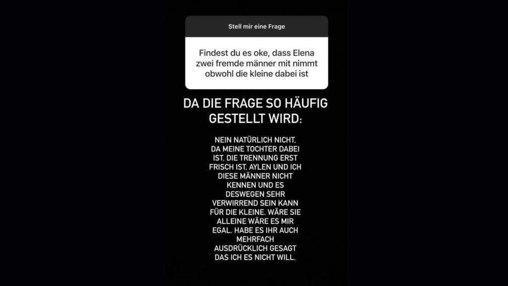 """Mike Heiter äußert sich in seiner Instagram-Story zu Elenas Urlaub mit """"zwei fremden Männern""""."""