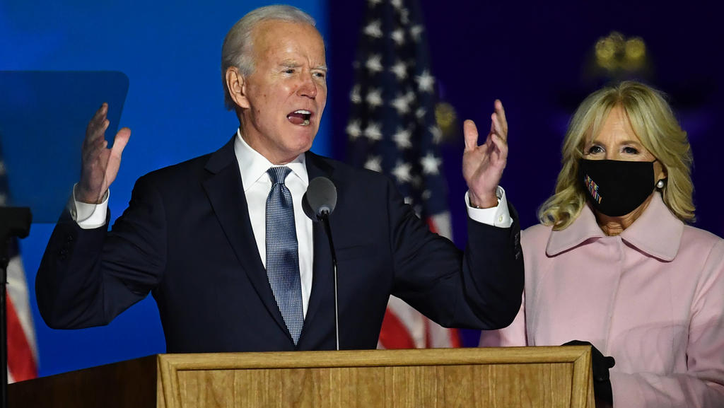 Former Vice President Joe Biden speaks to supporters at a parking lot in Wilmington, Delaware on Tuesday, November 3, 2020. Biden expressed optimism in the election and said it will take time to count the votes in cricial battleground states. PUBLIC