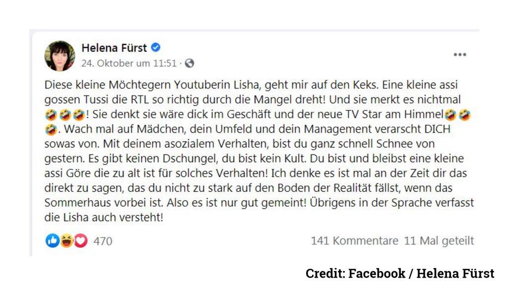 Das schreibt Helena Fürst über Lisha bei Facebook.